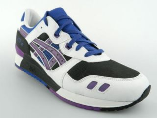 ASICS GEL LYTE III HQ81K NEW Mens White Black Purple Retro Shoes