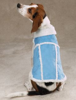 Aspen Coat Shearling Faux Suede Dog Jacket Blue XS