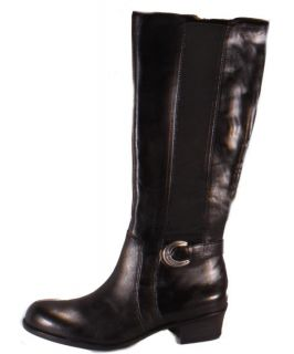 Naturalizer Arness Womens Black Leather Wide Shaft Knee High Boots