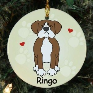 Personalized Loved by My Boxer Pet Dog Ceramic Christmas Tree Ornament
