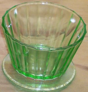Fruits Ribbon Green Glass Jello Custard Cup Dish Hazel Attles