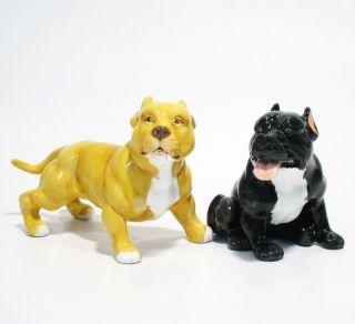 Salt Pepper Art American Pit Bull Terrier Dog Figurines