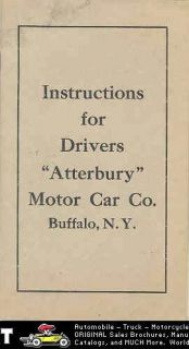 1911 Atterbury Car Truck Owners Manual Buffalo