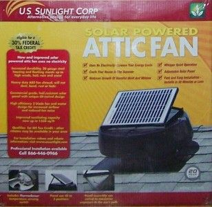 us sunlight solar powered attic fan 1010tr new