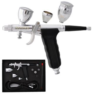 Tip PISTOL TRIGGER AIRBRUSH SET KIT 3 Cups Detail Touch Up Auto Paint