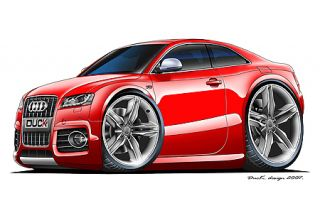 Audi S5 Cartoon Car Graphic Wall Decal Home Decor Turbo Fire