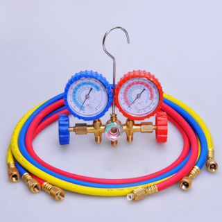 R410A 2 Valve Refrigerant Manifold Gauges 5ft Hoses A C Air Condition