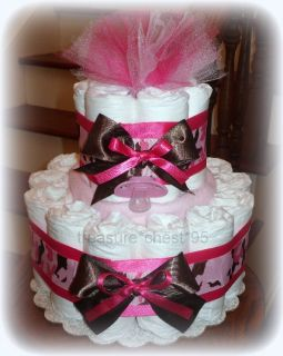 Pink Camouflage Diaper Cake Hidden Gifts Baby Shower Centerpiece Camo