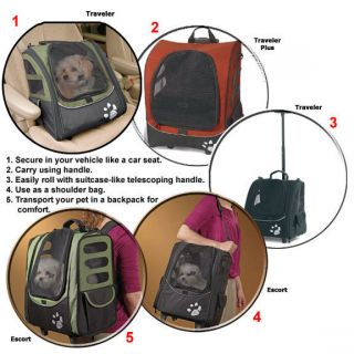 Pet Carrier Car Seat Wheeled Backpack Pet Gear I Go Traveler Dog Sage