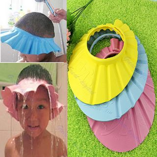 Soft Adjustable Baby Kids Children Bath Shower Shampoo Cap Hat Wash