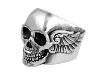 King Baby Studio Small Arch Wing Skull Ring Sterling Silver Rocker K20