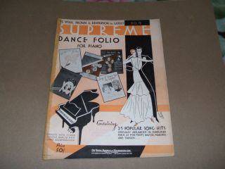 1930s Dance Music for Piano Ukulele Banjo Guitar Song Book Sheet Music