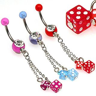 UV DICE & CHAIN DANGLE BELLY NAVEL RING CLEAR CZ GEM BUTTON PIERCING