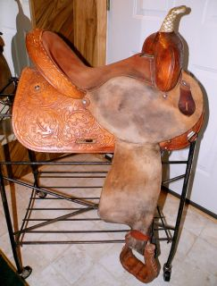 This is a good used barrel racing saddle that was made by Circle Y in