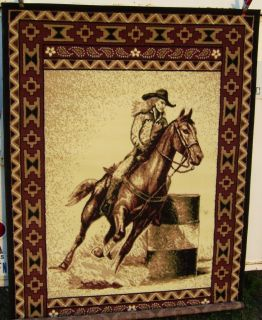 New Western Rug Barrel Racing Horse Home Decor 6 x 8