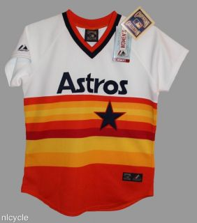 Houston Astros MLB Majestic Cooperstown Throwback Jersey Womens s M L