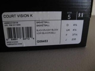 New Girls Adidas Court Vision Black Pink Youth Basketball Shoes Kids 5