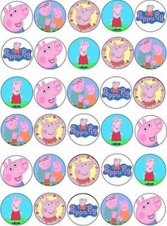 30 x peppa pig mixed images edible cup cake toppers
