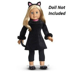American Girl MYAG Black Cat Halloween Costume for Dolls + Charm NEW