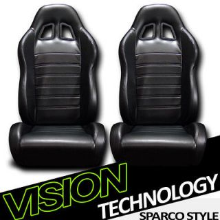 2x Version 2 JDM Black PVC Leather Reclinable Racing Bucket Seats