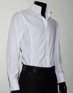 Mens New Slim Skinny Fit White High Collar Dress Shirt 03 Size US S XL