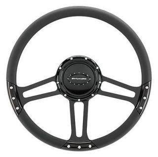 Billet Spec Steering Wheel Half Wrap Draft Aluminum Black 3 Spoke 14