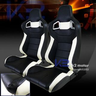 NEW 1 PAIR WHITE & BLACK PVC LEATHER RECLINABLE RACING SEATS
