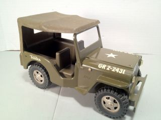 Vintage 63 64 Tonka Army Jeep with Top, Folding Front Windshield