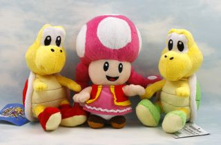 super mario bros koopa troopa toadette 6 6.5 soft plush doll toy lot