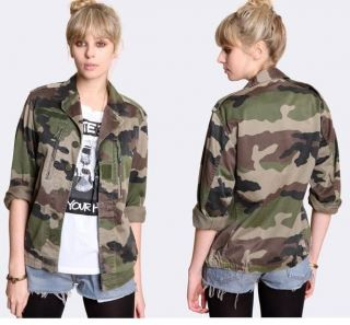MILITARY ARMY VINTAGE SHIRT JACKET F2 CAMO LADIES WOMENS ♥ 6 8