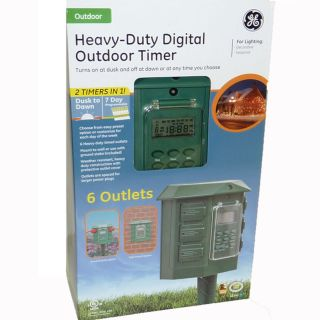 General Electric Heavy Duty Digital Outdoor Light Timer w 6 Outlets
