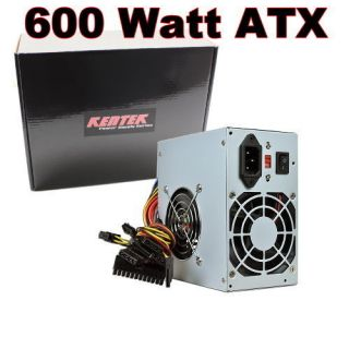 Kentek 600W Watt ATX Computer Power Supply 2 Fan SATA PCI E Intel AMD