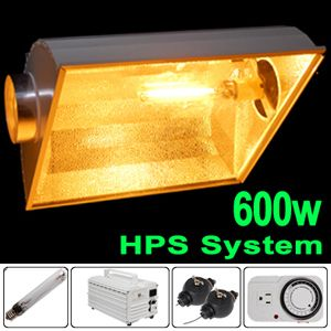 600W HPS Grow Light Kit Air Cooled Reflector Hood Ballast Sun Lamp 600