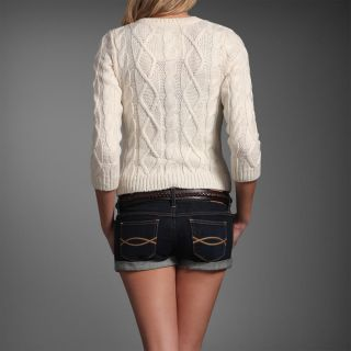 Abercrombie & Fitch Womens Cable Knit Meredith Cardigan Sweater