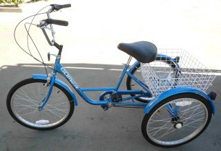 Gomier 3 Wheel Adult Tricycle 24 Trike 6 Speed Bike Blue
