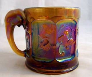 NIXON AGNEW 73 Special Order Ltd Ed Story Book Amber Canival Glass Mug