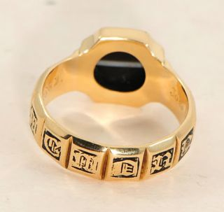 Victorian 18 Ct Gold Agate Enamel Mourning Ring John Duncanson N or 6