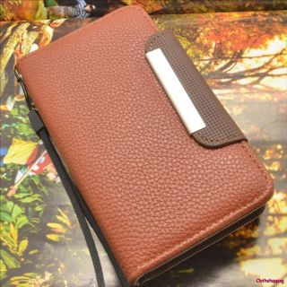 Samsung Galaxy S2 i9100 Brown Wallet Flip Leather Hard Case Cover AJO