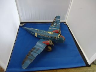 Key Wind Vtg Airplane Toys Mar US Mail Antique Tin Plane 990 5