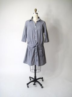 Steven Alan Black White Micro  gingham Check Plaid Cotton Shirt Dress
