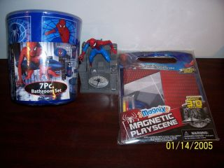 SPIDER MAN ALARM CLOCK & MAGNETIC PLAY SET & 7 PIECE BATHROOM SET LOT