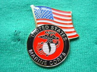 American Flag US Marines Corp Military Shirt Lapel Pin