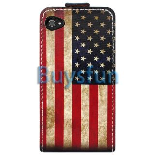 New Retro USA American Flag Flip Leather Case Cover For Apple iPhone 4