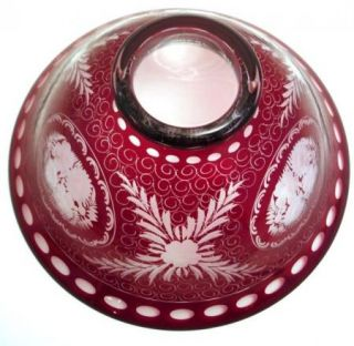 Ruby Cut to Clear Acid Etched Crystal Glass Bowl Flowers Leaves Floral