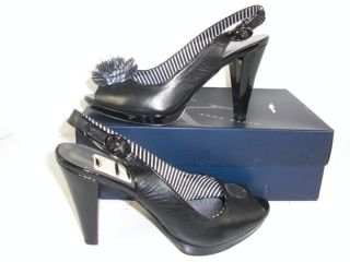 Anne Klein Keli Black Leather Pumps Shoes 8 5 M