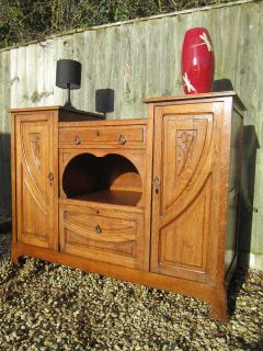 Antique Edwardian French Art Nouveau Solid Oak Buffet Sideboard