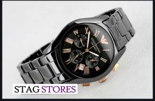 Brand New Emporio Armani Mens Goldtone Ceramica Watch AR1410 RRP £499