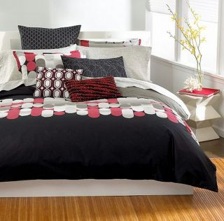 Bar III Pinball Full/Queen Comforter Black/Red/Taupe/Silver NEW