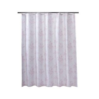 Simply Shabby Chic Floral Scroll Stripe Fabric Shower Curtain Gray