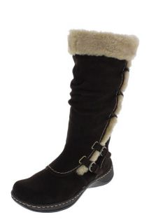 Bare Traps New Elissa Brown Suede Faux Fur Trimmed Buckled Snow Boots